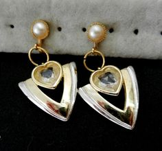 Earrings Vintage 1970 Italy - Elegance in silver with Zircon  & Pearls - for the bride