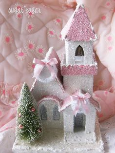pink glitter Christmas house