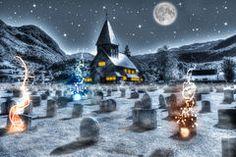 Cementerio de la noche de Halloween Imagenes de archivo