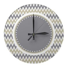 Khaki Gray White Zigzag Pattern Wall Clock