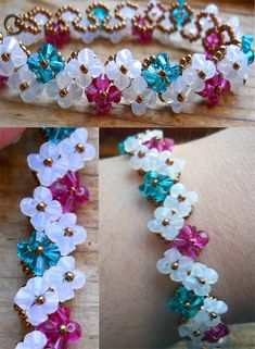 Flower Garland Bracelet by OdinsBeadHall on deviantART