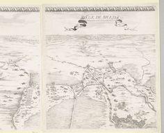 Jacques Callot | Beleg van Breda, 27 augustus 1624-5 juni 1625 (deel middenboven), Jacques Callot, 1628 | Grote voorstelling in zes bladen van het beleg van de stad Breda in de jaren 1624 en 1625 door de Spanjaarden onder aanvoering van Ambrogio Spinola. Blad middenboven. Op dit blad een deel van de belegeringswerken en kampementen om Breda, en een deel van de stad zelf. Boven de voorstelling een ornamentele rand.