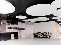 Download the catalogue and request prices of Saint-gobain Ecophon glass wool acoustic ceiling clouds Ecophon solo™ circle xl, Ecophon Solo™ line