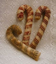 Primitive Candy Canes--7 inch by ButtonsInTheAttic on Etsy https://www.etsy.com/listing/63152062/primitive-candy-canes-7-inch