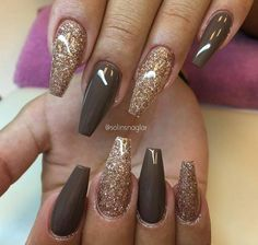#Gold and Brown coffin nails