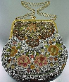 "1920s ""Metro Bag Works France"" purse, the roses Cornély machine embroidery, and filled up with bead work."