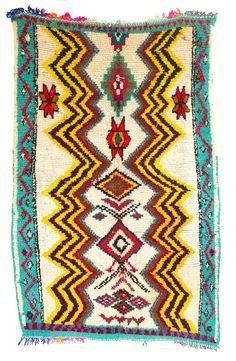 "(A241) Vintage Azilal Moroccan Berber Rug, 4'4"" x 6'7"" feet / 135 x 204 cm"