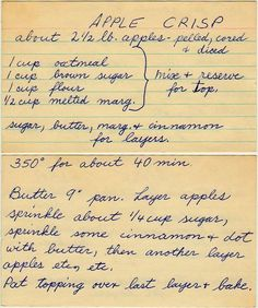 - I love these hand written recipe cards! I love these hand written recipe cards! I love these hand written recipe cards! I love these hand written recipe cards! Retro Recipes, Old Recipes, Vintage Recipes, Fruit Recipes, Sweet Recipes, Cooking Recipes, Recipies, Cake Recipes, Dessert Recipes