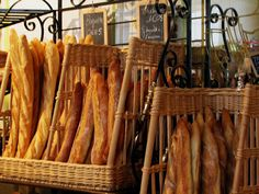 Fresh French baguettes lined up like little soldiers at this Boulangerie in Paris.