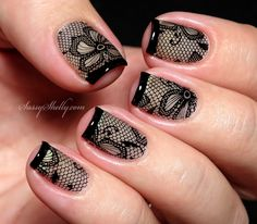 french tip black lace nail art with Messy Mansion and Mundo de Unas  |   Sassy Shelly