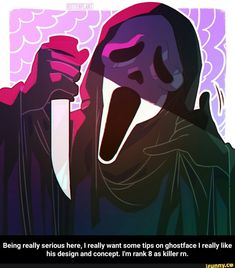 Being really serious here, I really want some tips on ghostface I really like his design and concept. I'm rank 8 as killer rn. - Being really serious here, I really want some tips on ghostface I really like his design and concept. I'm rank 8 as killer rn. Horror Movie Characters, Slasher Movies, Horror Movies, Scream Art, Scream Movie, Ghostface Scream, Horror Drawing, Horror Artwork, Ghost Faces