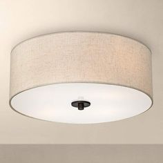 Sylvan 18 wide oatmeal drum ceiling light ceiling lights bronze with off white shade 18 wide ceiling light fixture 2n838 lamps plus mozeypictures Image collections