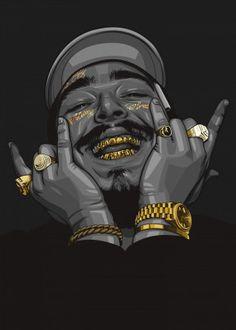 Post Malone Hip Hop Rapper Music Singer Star Poster Art - Music Poster - Ideas of Music Poster Mode Poster, Poster S, Poster Prints, Poster Ideas, Arte Do Hip Hop, Hip Hop Art, Dope Cartoon Art, Dope Cartoons, Post Malone Music