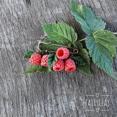 Raspberry brooch blueberry brooch handmade brooch polymer