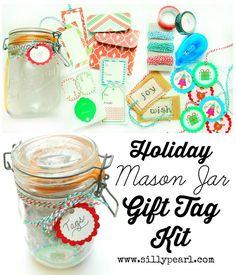 Holiday Mason Jar Gift Tag Kit - Hostess Gift Idea - The Silly Pearl