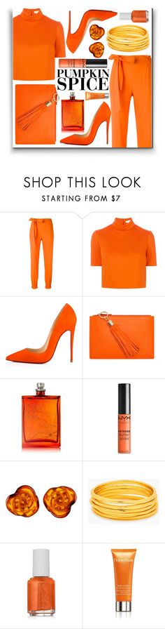"""All in Orange"" by piloariass ❤ liked on Polyvore featuring MSGM, Delpozo, Christian Louboutin, Noble Macmillan, The Beautiful Mind Series, NYX, Be-Jewelled, Gorjana, Essie and Natura Bissé"