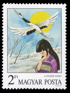 The White Crane (Japanese) --  Andersen's Fairy Tales on Stamps  --  Hungary—11 December 1987