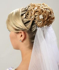 "curls + fake mismatched hairpiece + a million bobby pins + side bangs cut especially for the 'do = ""Bride Hair"""