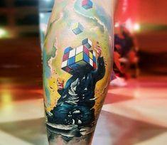 Rubix Cube Head tattoo by Gundeniz Oktay