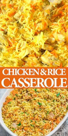 Chicken and Rice Casserole - COOKTORIA'S VIDEO RECIPES - If you are looking for a simple, yet delicious and filling chicken dinner, this Chicken Rice Cassero - Easy Casserole Recipes, Casserole Dishes, Easy Dinner Recipes, Oven Recipes, Bean Casserole, Breakfast Casserole, Simple Recipes For Dinner, Easy Meals For Dinner, Cheap Family Dinners