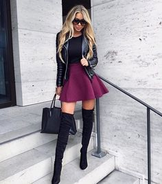 An A-Line mini swing skirt with OTK boots, a bomber jacket, and black tote make a great, sexy outfit after work, or for a casual dress gathering on the weekend.