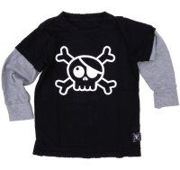 Nununu Baby Black Skull Long Sleeved T-Shirt - available for international delivery from www.alittlebitofcheek.com.au