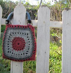 FREE Shipping  pink and gray crocheted purse with by royaboya, $46.00