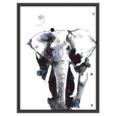 Nydelig håndtegnet elefant-poster i fire størrelser! Dåpsgave, bryllupsgave, babyshower eller til deg selv.
