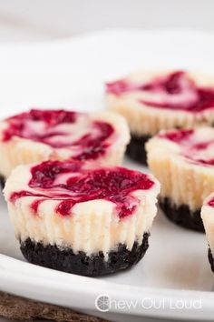 Swirl together sweet but bitter raspberries with soft cream cheese in these adorable cheesecake bites that you can make in muffin tins. They will literally melt in your mouth!