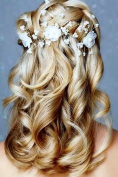 Bride's woven crown braid long down waterfall curls bridal hair ideas Toni Kami Wedding Hairstyles ♥ Wedding hairstyle Braided Hairstyles For Wedding, Bride Hairstyles, Pretty Hairstyles, Hairstyle Wedding, Wedding Hair And Makeup, Bridal Hair, Hair Makeup, Bridal Braids, Wedding Braids