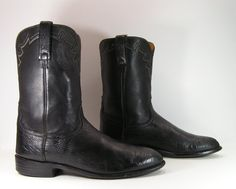 lucchese cowboy boots mens 11.5 D black by vintagecowboyboots