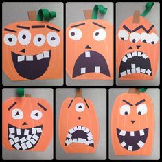 Halloween pumpkin art lesson project / special education / elementary school age students / a focus on fine and gross moor skills, step by step instructions and proper use of art materials / monicacohenteaches.tumblr.com
