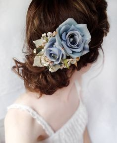 blue flower accessory rustic wedding hair piece by thehoneycomb, $75.00