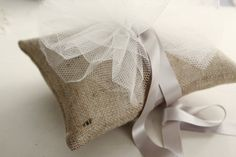 Burlap and Tulle Ring bearer pillow