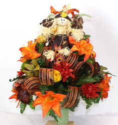Gorgeous Multi Flowers Fall Autumn Silk Flower w Deco Mesh Ribbon 3 inch Cemetery Arrangement by Crazyboutdeco on Etsy