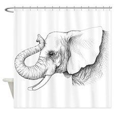 Elephant profile drawing Shower Curtain for