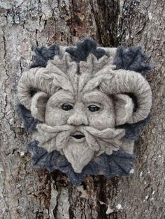 Needle Felted One of a kind Gargoyle or Green Man by McBrideHouse