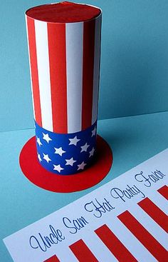 4th of July - DIY Uncle Sam Hat Party Favor - includes free Download. Patriotic top hat.  Paper craft & decoration.