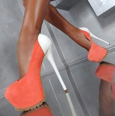 4ff9843573b3 Giuseppe Zanotti orange pumps w white heel Cool Shoes white heels
