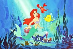 Walt Disney Production Cels - Princess Ariel, Sebastian & Flounder ...