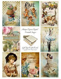 CLASSIC No. 6 Antique Images Digital Collage Sheet - Digital Printable Crafts - Victorian 2.5 x 3.5 atc Antique Cakes