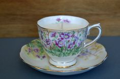 1940s Royal Albert 'Wild Geraniums' Teacup - Upcycled Vanilla Soy Wax Candle - pinned by pin4etsy.com - vintage teacup up cycled to hold a vanilla scented soy wax candle.