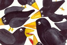 15 Watercolor Crows Clip Art Set  @creativework247