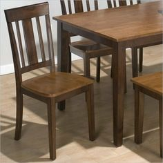 Triple Upright Side Chair [Set of 2] by Jofran. $114.21. Triple upright.. Casual Dining Chair.. Wood Frame.. Transitional Style.. Solid Hardwood construction.. 875-265KD Features: -Upright chair.-Triple slat back with a thicker center splat.-Stands on sleek sabre legs.-Clean and classic lines.-Coordinates with rectangular conventional.-Note: A minimum of 2 chairs is required and in multiples of 2. Construction: -Rubber wood construction. Color/Finish: -Combination Kura ...