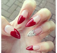 Red Almond Nails #beautynails