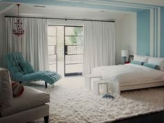 Yes please! I love the serene, happy stripes on the wall & ceiling and I LOVE the Flokati rug. I must have a Flokati.