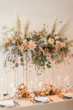 Modern Chic Boho Wedding With The Prettiest Floral Design Modern Wedding Centerpieces, Boho Wedding Decorations, Floral Centerpieces, Table Decorations, Reception Decorations, Boho Wedding Flowers, Chic Wedding, Wedding Colors, Luxury Wedding Decor