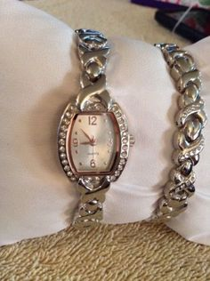 Womens-Crystal-Accented-Silver-Tone-Watch-and-Bracelet-Set