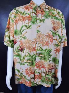b1e5338c Tori Richard Hawaiian Aloha Shirt Men's Size Large Camp Shirt Palm Trees  Tropical Foliage Vintage 80