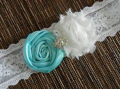 Tiffany Blue Satin Rosette Flower Garter, Chiffon Shabby Flower Garter, Keepsake Toss Garter, Garter, Blue Garter, Lace Garter, Garter Belt
